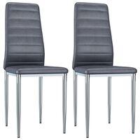 vidaXL Ruokapöydän tuolit 2 kpl harmaa keinomokkanahka
