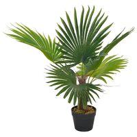 vidaXL Tekokasvi palmu ruukulla vihreä 70 cm