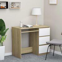 vidaXL Työpöytä valkoinen ja Sonoma-tammi 90x45x76 cm lastulevy