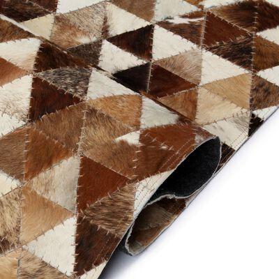 vidaXL Matto aito nahka tilkkutyö kolmio ruskea/valkoinen 120x170 cm