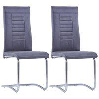 vidaXL Takajalattomat ruokapöydän tuolit 2 kpl harmaa keinomokkanahka