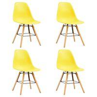 vidaXL Ruokapöydän tuolit 4 kpl keltainen muovi