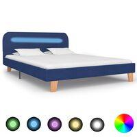 vidaXL Sängynrunko LED-valolla sininen kangas 135x190 cm