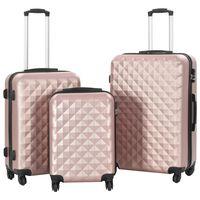 vidaXL Kovapintainen matkalaukkusetti 3 kpl ruusu kulta ABS