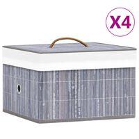 vidaXL Säilytyslaatikot bambu 4 kpl harmaa