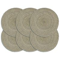 vidaXL Tabletit 6 kpl kuvioton harmaa 38 cm pyöreä juutti