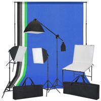 vidaXL Valokuvastudiosetti Kuvauspöytä, Valot ja Taustakankaat