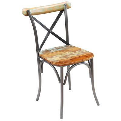 vidaXL Ruokapöydän tuolit 6 kpl täysi uusiokäytetty puu