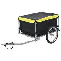 vidaXL Polkupyörän peräkärry 65 kg musta ja keltainen