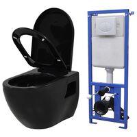 vidaXL Seinään kiinnitettävä WC piilotettu säiliö keraaminen musta