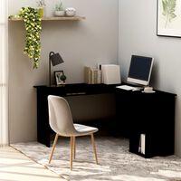 vidaXL L-muotoinen kulmapöytä musta 120x140x75 cm lastulevy