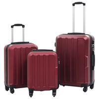 vidaXL Kovapintainen matkalaukkusarja 3 kpl viininpunainen ABS