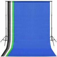vidaXL Valokuvastudiosetti 5 värillistä taustaa ja säädettävä runko