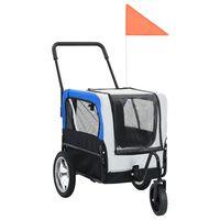 vidaXL 2-in-1 lemmikinkuljetuskärry/juoksurattaat harmaa ja sininen
