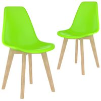 vidaXL Ruokapöydän tuolit 2 kpl vihreä muovi