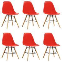 vidaXL Ruokapöydän tuolit 6 kpl punainen muovi