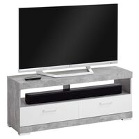FMD TV/Hi-Fi taso betoninharmaa ja kiiltävä valkoinen