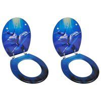 vidaXL WC-istuimet hard-close kansilla 2 kpl MDF delfiini
