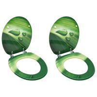 vidaXL WC-istuimet kansilla 2 kpl MDF vihreä vesipisarakuosi