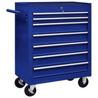 vidaXL Työkalukärry 7 laatikolla sininen