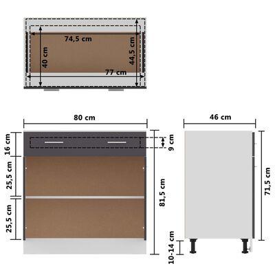 vidaXL Alalipastokaappi harmaa 80x46x81,5 cm lastulevy, Grey