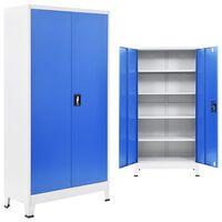 vidaXL Toimistokaappi metalli 90x40x180 cm harmaa ja sininen