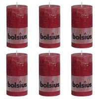 Bolsius Pilarikynttilät 6 kpl rustiikkinen 130x68 mm viininpunainen