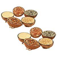 vidaXL Linnunruoalla täytetyt kookospähkinän puolikkaat 10 kpl 290 g