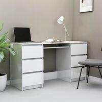 vidaXL Kirjoituspöytä korkeakiilto valkoinen 140x50x77 cm lastulevy