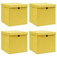 vidaXL Säilytyslaatikot kansilla 4 kpl keltainen 32x32x32 cm kangas