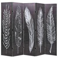 vidaXL Taitettava tilanjakaja höyhenet 200x170 cm musta ja valkoinen
