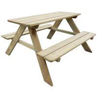 vidaXL Lasten piknikpöytä 89x89,6x50,8 cm puu