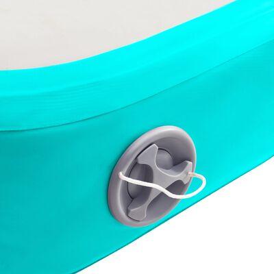vidaXL Täytettävä voimistelumatto pumpulla 700x100x15 cm PVC vihreä