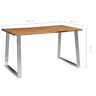 vidaXL Ruokapöytä 140x80x75 cm täysi akaasiapuu ja ruostumaton teräs