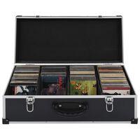 vidaXL CD-kotelo 80 CD-levylle alumiini ABS musta