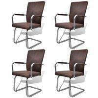 vidaXL Takajalattomat ruokapöydän tuolit 4 kpl ruskea keinonahka