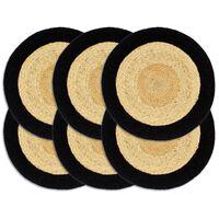 vidaXL Tabletit 6 kpl luonnollinen/musta 38 cm juutti ja puuvilla