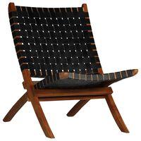 vidaXL Kokoontaittuva nojatuoli ristiinpunottu musta aito nahka