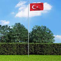 vidaXL Turkin lippu ja tanko alumiini 6,2 m