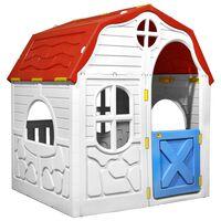 vidaXL Lasten kokoontaittuva leikkimökki ovella ja ikkunoilla