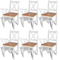vidaXL Ruokapöydän tuolit 6 kpl valkoinen mänty