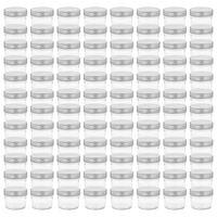 vidaXL Lasiset hillopurkit hopean värisillä kansilla 96 kpl 110 ml