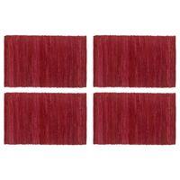 vidaXL Tabletit 4 kpl Chindi-viininpunainen 30x45cm puuvilla