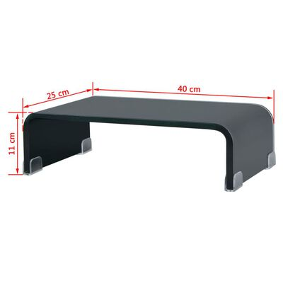 vidaXL TV-taso/Näyttöteline Musta lasi 40x25x11 cm