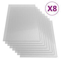 vidaXL Polykarbonaattilevyt 8 kpl 4 mm 121x60 cm