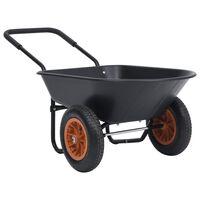 vidaXL Kottikärry musta ja oranssi 78 l 100 kg