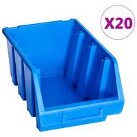vidaXL Pinottavat säilytyslokerot 20 kpl sininen muovi
