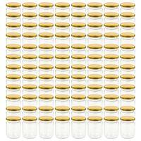vidaXL Lasiset hillopurkit kullan värisillä kansilla 96 kpl 230 ml