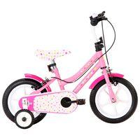 """vidaXL Lasten pyörä 12"""" valkoinen ja pinkki"""