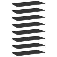 vidaXL Kirjahyllytasot 8 kpl korkeakiilto musta 80x40x1,5 cm lastulevy